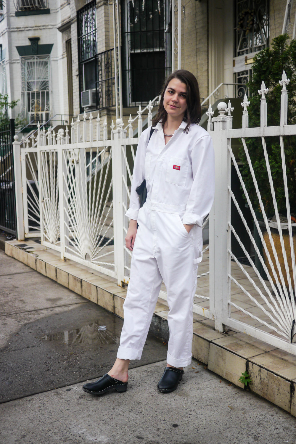 Streetstyle Details:  Overalls, Dickies  ; Necklace & Bag, Vintage ; ShoeS, Hanna Andersson