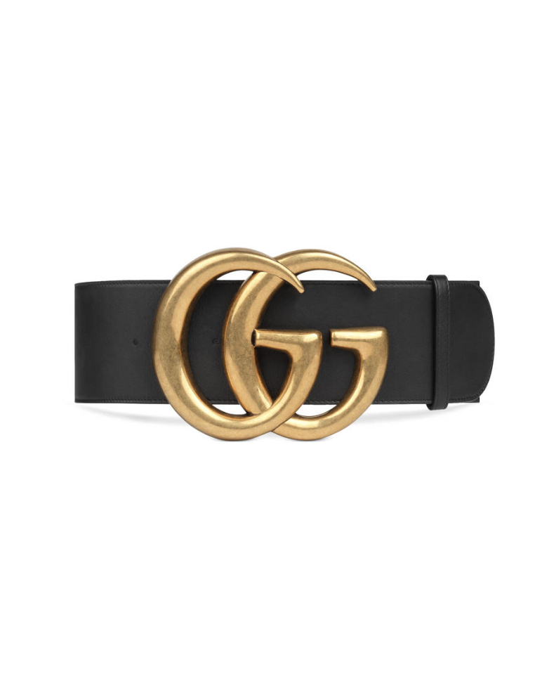 WIDE LEATHER BELT WITH DOUBLE G
