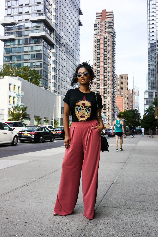 T-Shirt, Babbuthepainter; Pants, Express; Earrings, Express