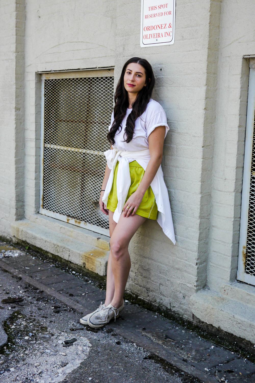 Outfit Details: Top,    H&M    ; Shorts, Vintage ; Shoes, Keds