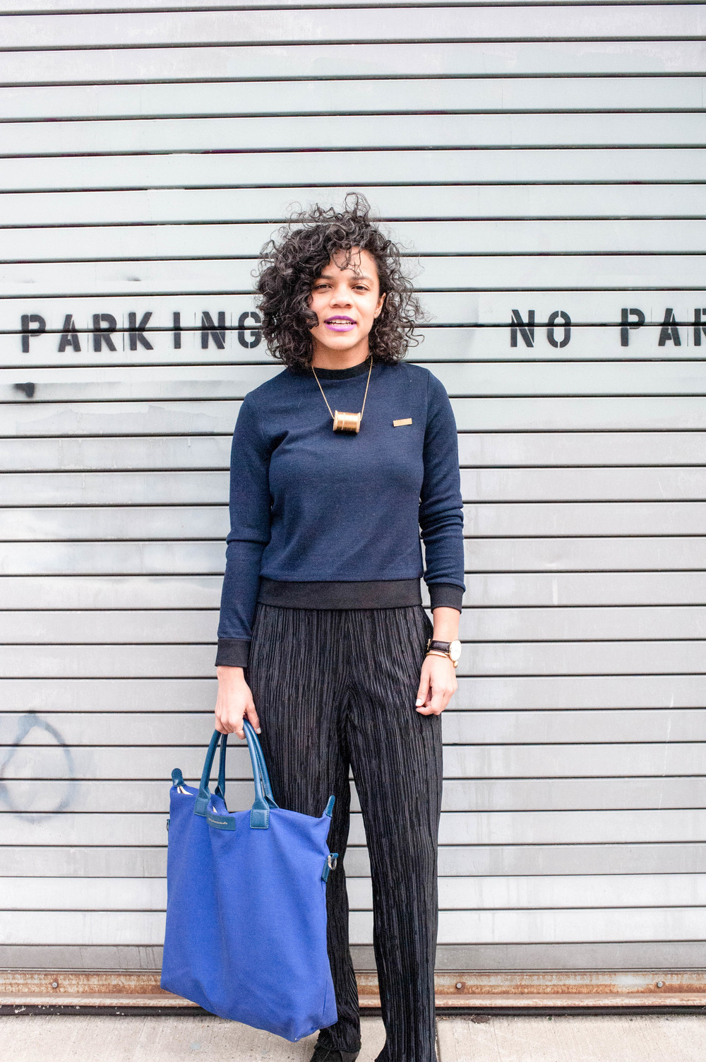 Streetstyle Details: Top &  Pants, Daniella Kallmeyer  ;    Shoes, Woman by Common Projects    ;  Necklace, Bagavundas ,    Watch: Leonardo & Church  ;    B  ag: Want Les Essentiels