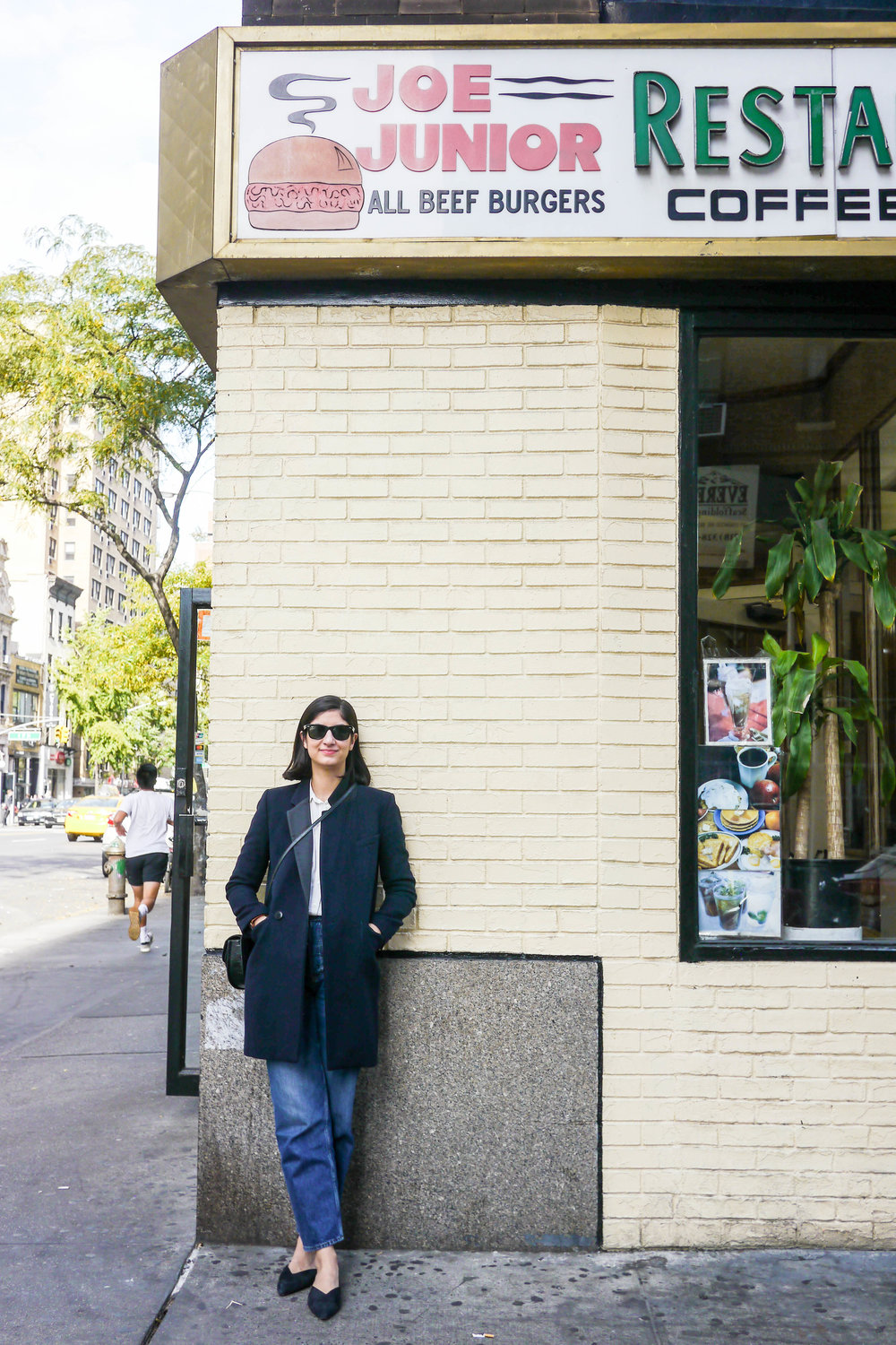 Top, Madewell ;  Jeans, And Other Stories  ;  Coat, Sandro  ;  Sunglasses, Ray Ban