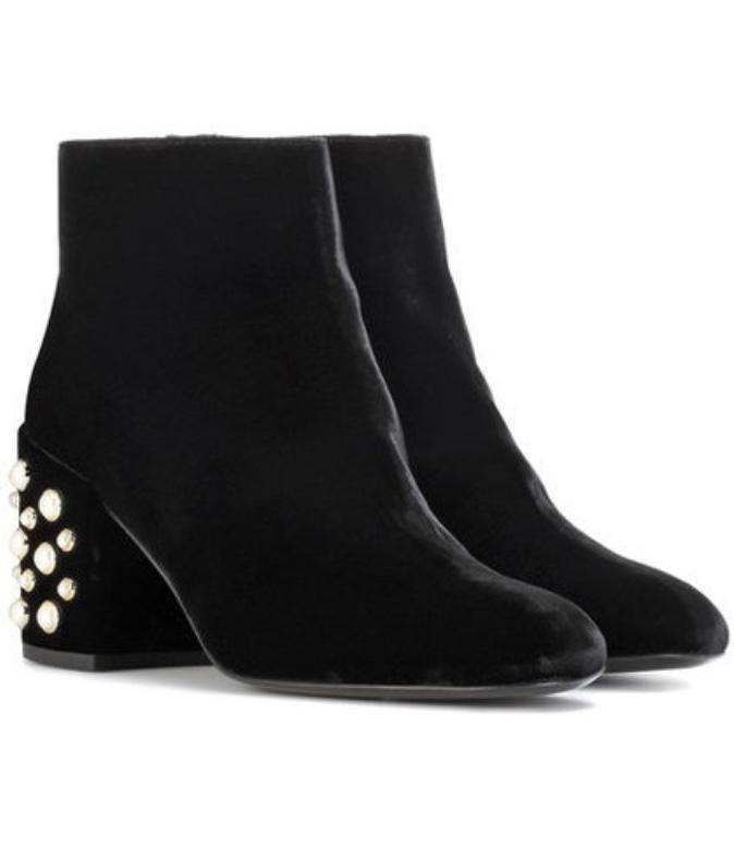Stuart Weitzman Pearl Bacari Mona embellished velvet ankle boots