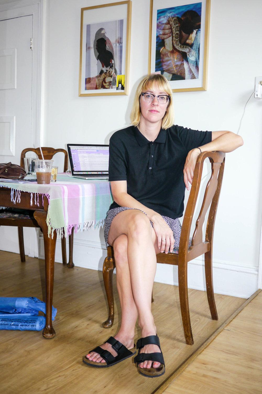 Top, Community by Aritzia ; Skirt,H&M ;  Shoes, Birkenstock
