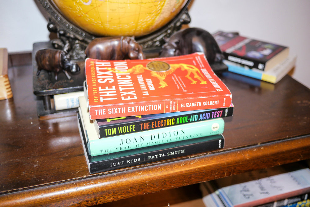 The Sixth Extinction  by Elizabeth Kolbert,  The Year of Magical Thinking   by Joan Didion,   Just Kids   by Patti Smith and   The Electric Kool-Aid Acid Test   by Tom Wolfe