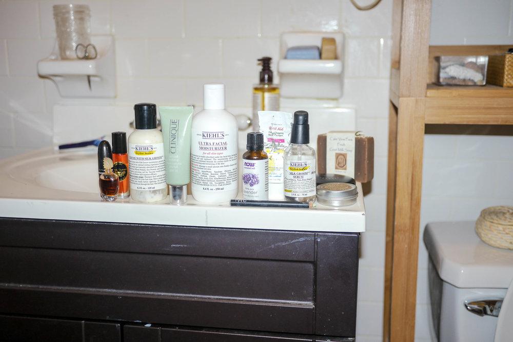 MAC Lipstick ,  Kiehl's Stylist Series Silk Groom Serum ,  Clinique Almost Makeup SPF 15 , Kiehl's Since 1851 Ultra Facial Moisturizer ,  NOW Lavender Essential Oil , Kiehl's Since Silk Groom Serum
