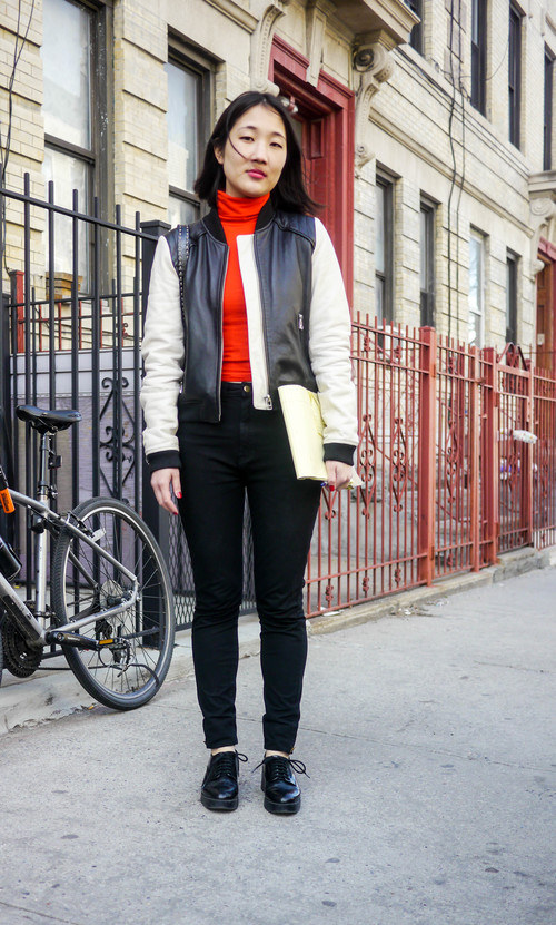 jacket, mango ;  top  &  pant s, american apparel; shoes, zara ; bag, vintage moschino