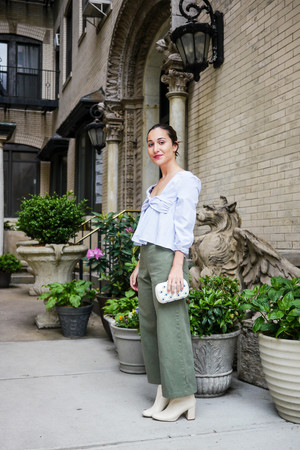 Top    &    Shoes, Zara    ;    Pants, Rachel Comey    ; Bag, Loeffler Randall