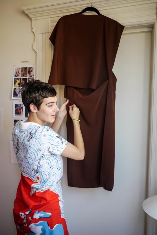 Dress: Carven  ,   Bracelet: Madewell