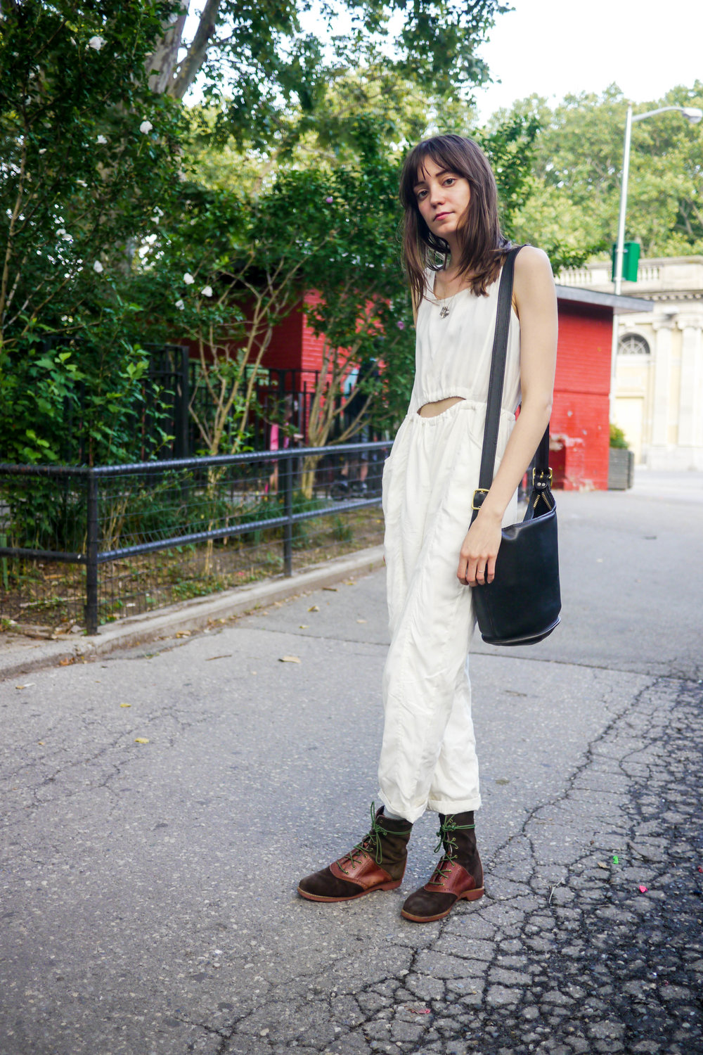 Jumpsuit, Samantha Pleet ; Boots, Bass ; Bag, Coach