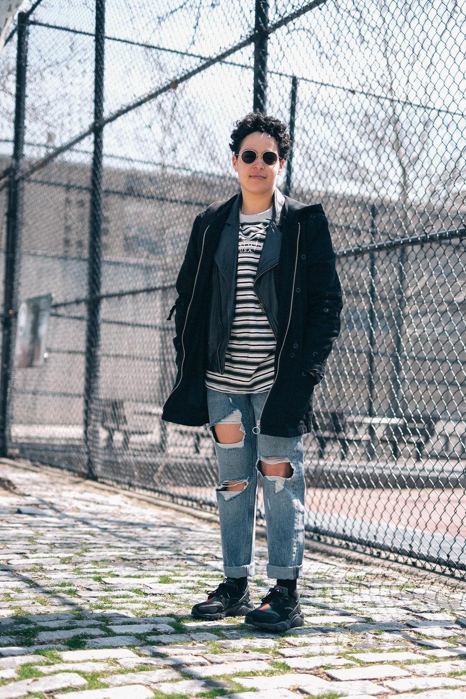 Coat, Zara ; Jacket, Topman ; Top, Guess ; Jeans, Zara ; Shoes, Nike