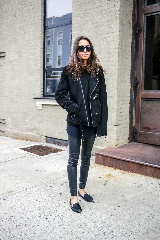 Top: Isabel Marant   ,    Jacket: Blk Dnm   ,    Pants: Current/Elliot   t,    Sunglasses: The Row   , Shoes: Sam Edelman