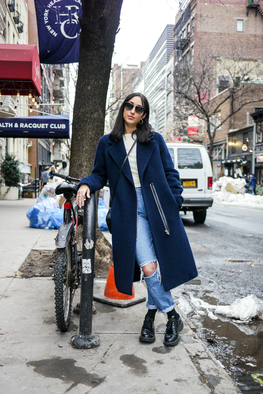 Top:Acne,Jeans:Tommy Hilfiger, Coat:Alexander Wang , Bag:Saint Laurent , Shoes:Prada ,Sunglasses:  Garrett Leight