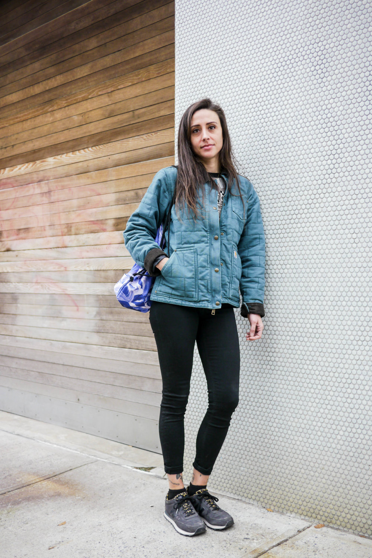 Top:Viva Vena,    Jacket:Carhartt,   Jeans:Acne ,     Shoes:New Balance ,     Bag:Mansi Shah
