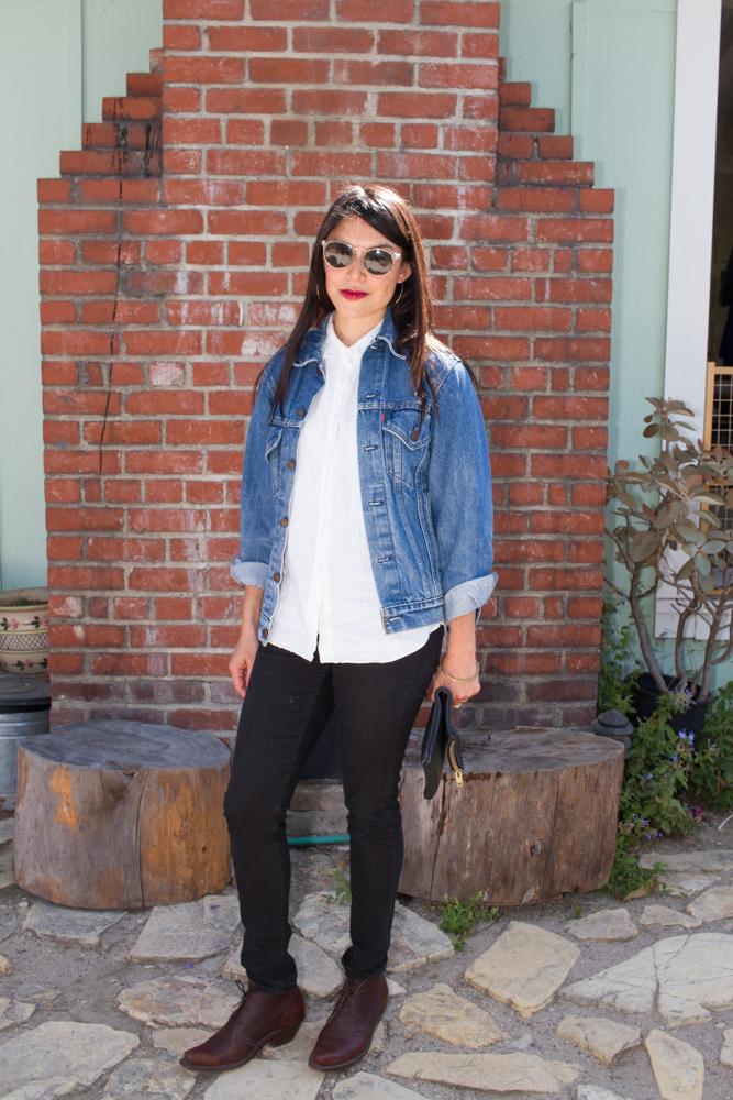 jeans: madewell   ,    boots: cobra rock   ,    jacket: levis   , clutch: susan e. sherrick