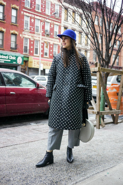 coat, comme des garcons ; pants, comme des garcons ; bag, matter matters ; shoes, acne ; hat, etudes studio