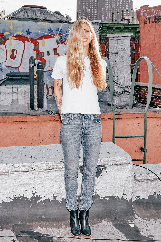 Lyz Olko White T, Alexander Wang Jeans, APC Boots
