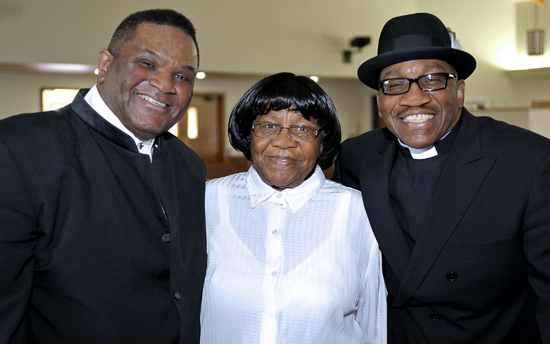 Producer Larry Batiste with John Lee Hooker, Jr. and his mother in Sacramento, CA