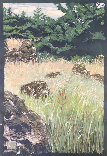 "I worked hard to keep detail in the grasses only in the foreground, and transition to simple blocks of color gradually. The trees at the top are only suggested in the highlights, while the shadow areas remained flat. I'm learning the shapes have to be dynamic enough to pull it off.   Lopez Island Hillside  16x26"" batik on cotton (framed 22x32"") $1100 available"
