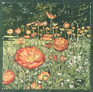 "The detail in the poppies, contrasting with the rough splatters to suggest white flowers was nerve-racking to try, I had to splatter the white before I began dying anything. What looked like a mess in the beginning paid off, and I held back a lot of detail in the background, so it wouldn't compete with the flowers.   Poppies in Paris  13 X 13"" batik on cotton ( framed 21 X 21"") available $580"