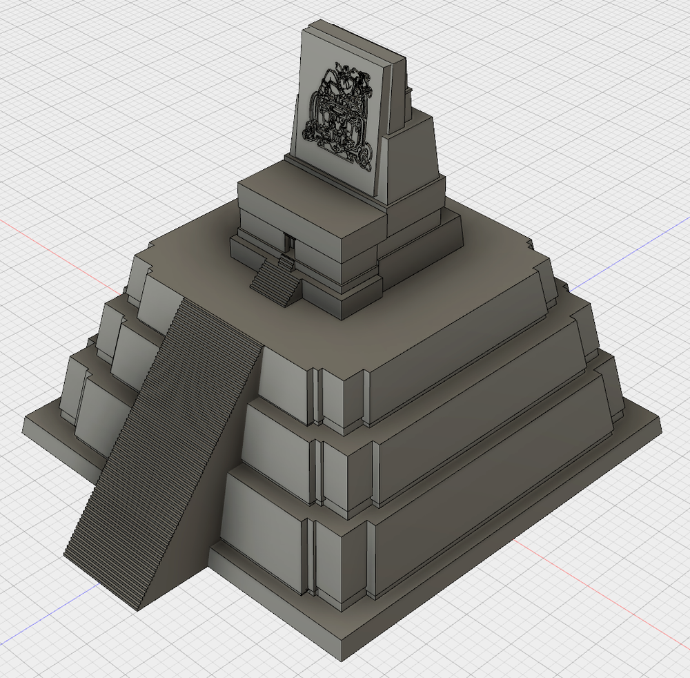An Autodesk Fusion 360 model of Tikal's Temple II.  Cyark data here .Please note the carving at the top of the temple is not the historical carving; it is an image licensed  from Adobe Stock .