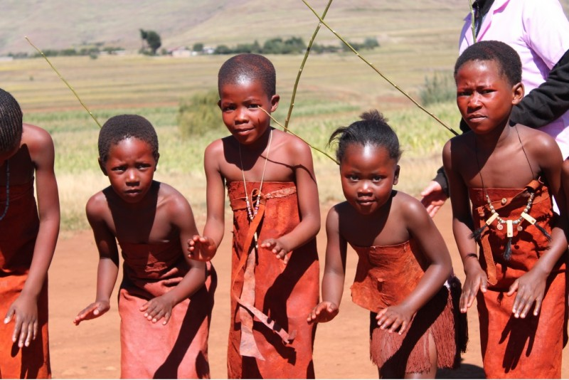 Lesotho Children In Traditional Garb