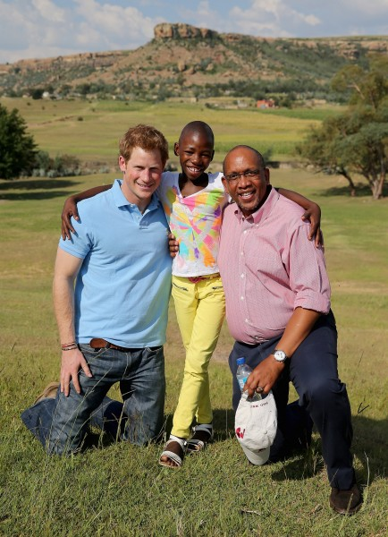 Prince Harry and Prince Seeiso with Friend