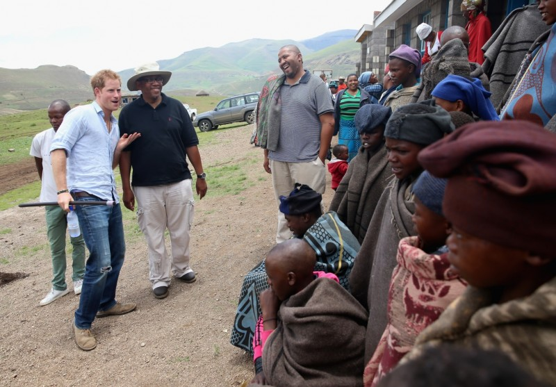 Prince Harry Showcases His Dance Moves for Prince Seeiso and the Children