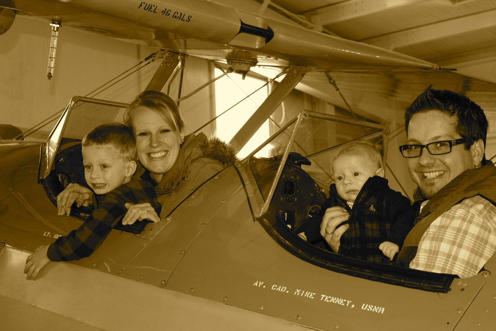 Picture is a little old. We have another child and my boys are A LOT bigger! But, cool plane...