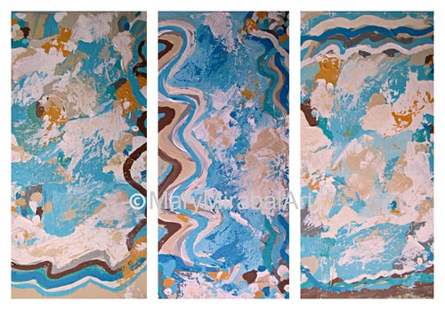 Sun, Sand and Sea Glass, three panel gallery wrapped  canvas