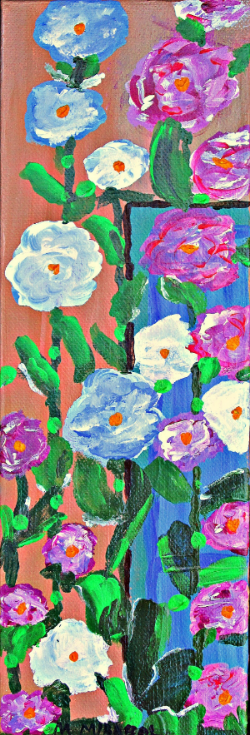 "Hollyhocks and Blue Window, 4"" x 12"" acrylic on gallery wrapped canvas"