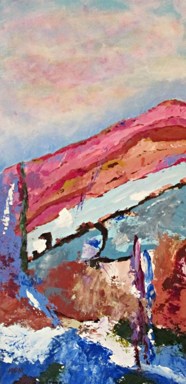 """Sunset Over Sangre de Cristo Mountains""  10"" x 20"" acrylic on gallery wrapped canvas"