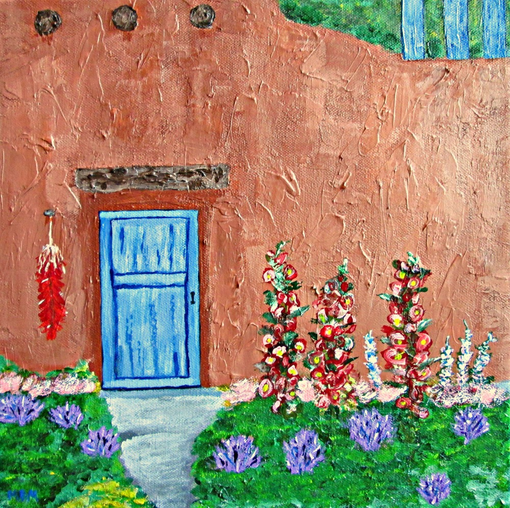 "Santa Fe Adobe, 12"" x 12"" acrylic on wrapped canvas"