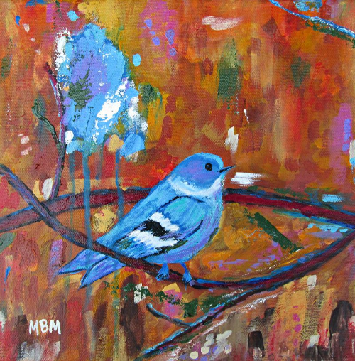 "Bluebird in Autumn, 10"" x 10"" acrylic on gallery wrapped canvas"
