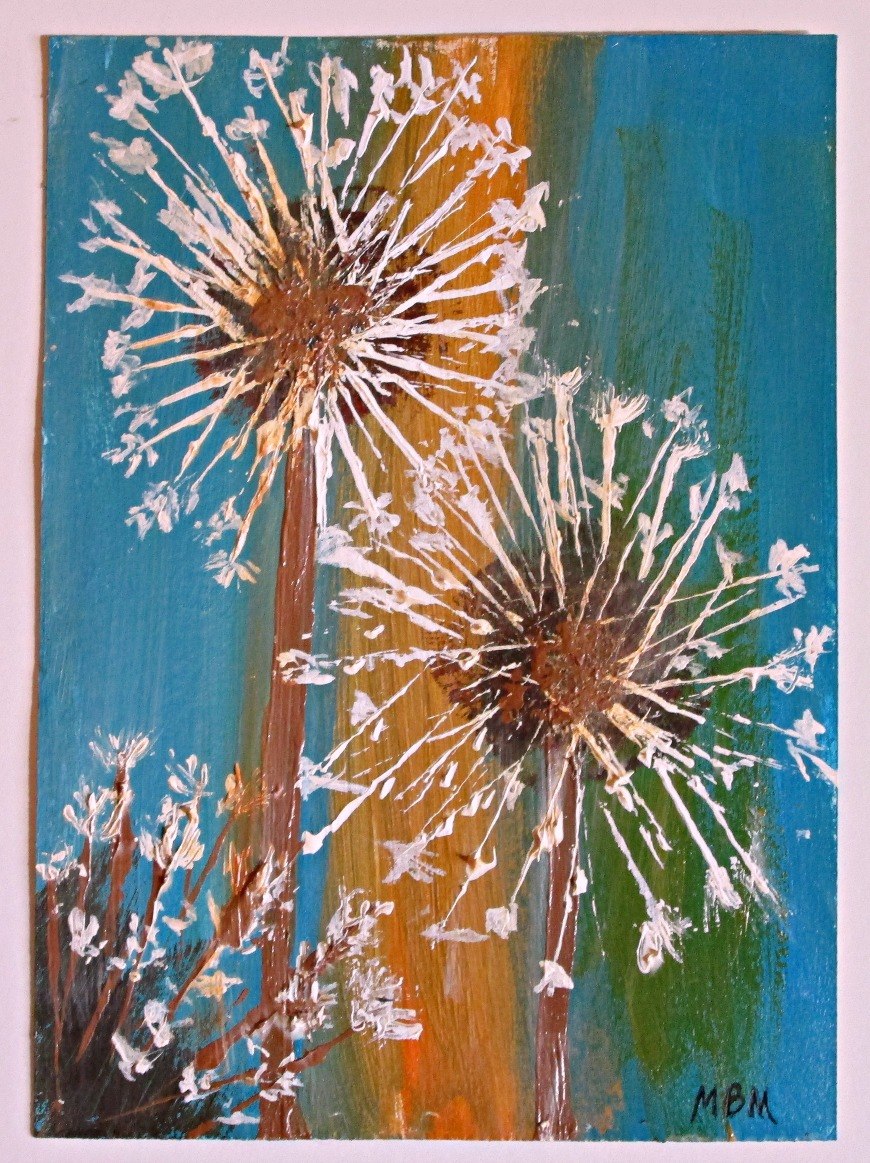 "Day 2, ""Dandelions"" 5 x 7 study on paper"