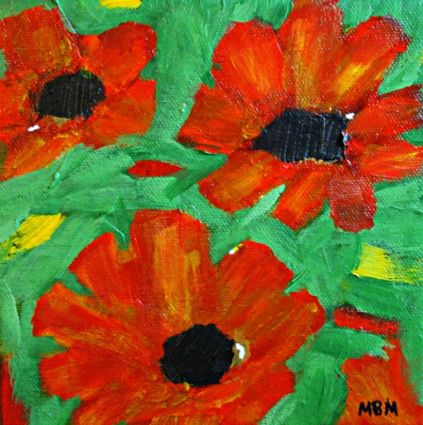Steal of the Month:  Poppies, 6 x 6 acrylic on gallery wrapped canvas