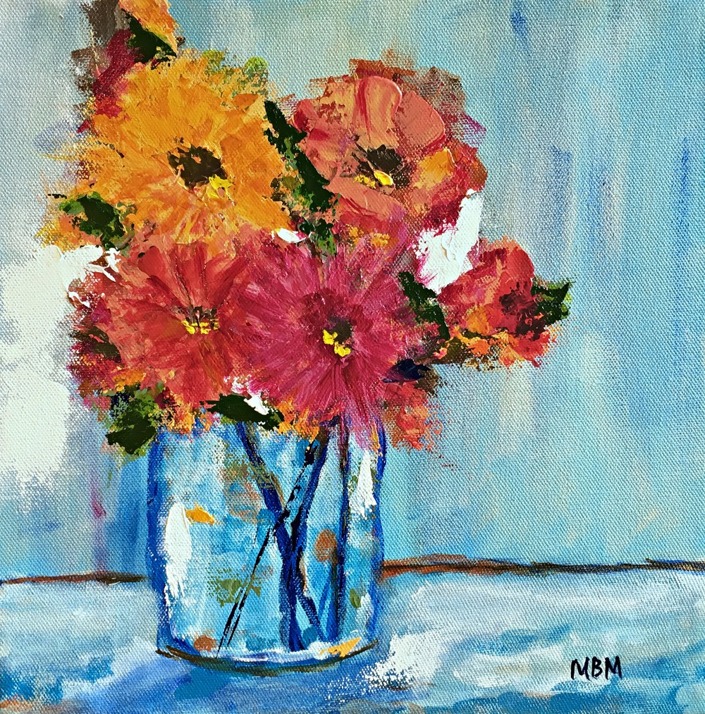 "Floral Still Life,  12"" x 12"" acrylic on gallery wrapped canvas"