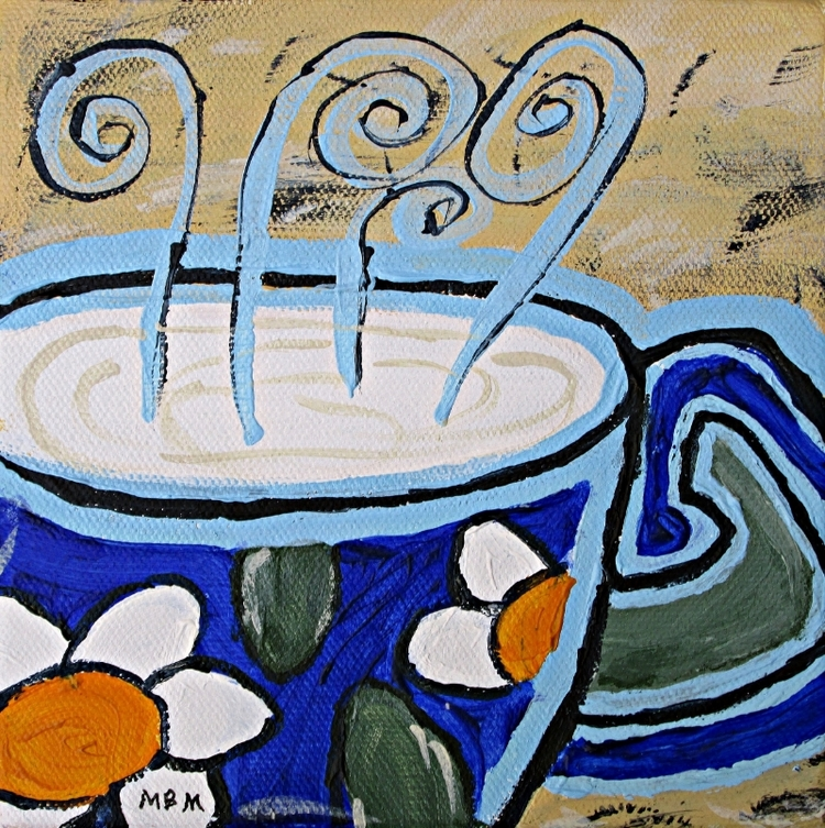 "Coffee Mug, 6"" x 6"" x 1.5"" acrylic on gallery wrapped canvas"