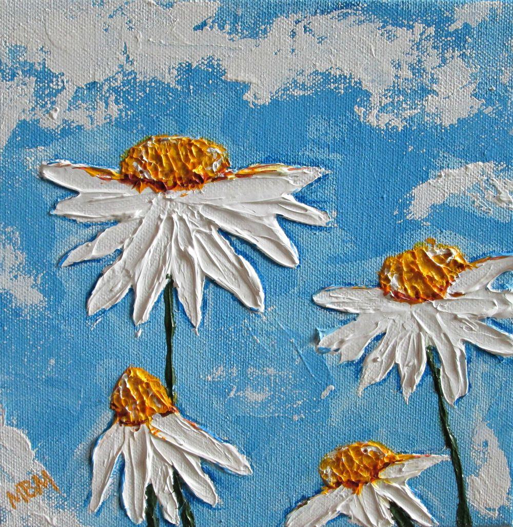 Four Daisies, 8 x 8 acrylic on canvas
