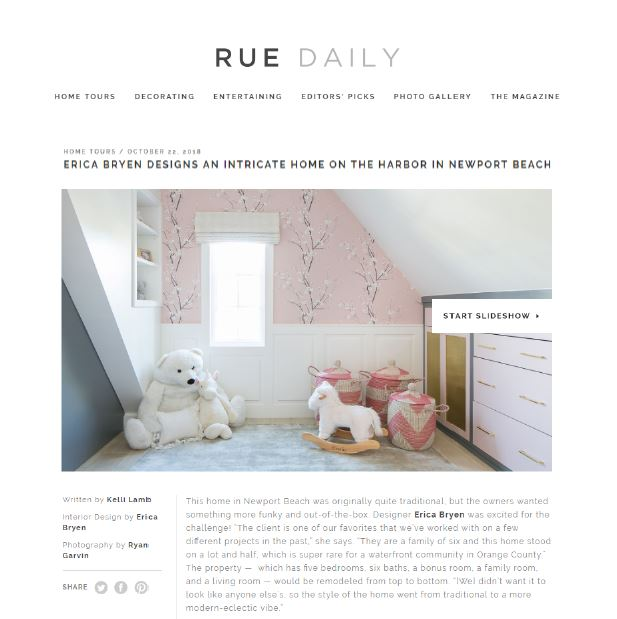 Rue Daily Online - Erica Bryen Designs an intricate home on the harbor in Newport Beach, October 2018