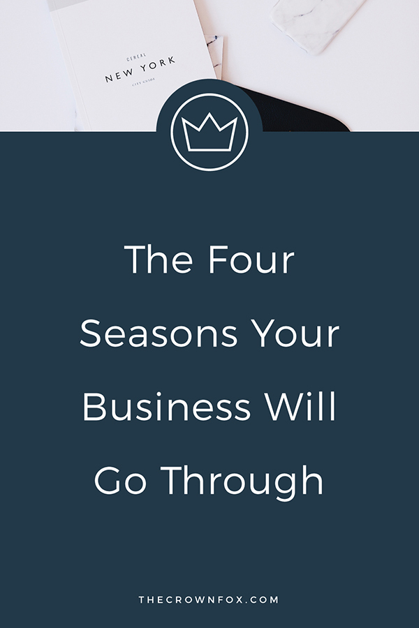 Your business definitely changes over time. All seasons in your business are not created equal. Here are the four seasons I've experienced in my business and you probably have too! Click through to read more. | Graphic Design Assistant for Creative Entrepreneurs | TheCrownFox.com #business #entrepreneur