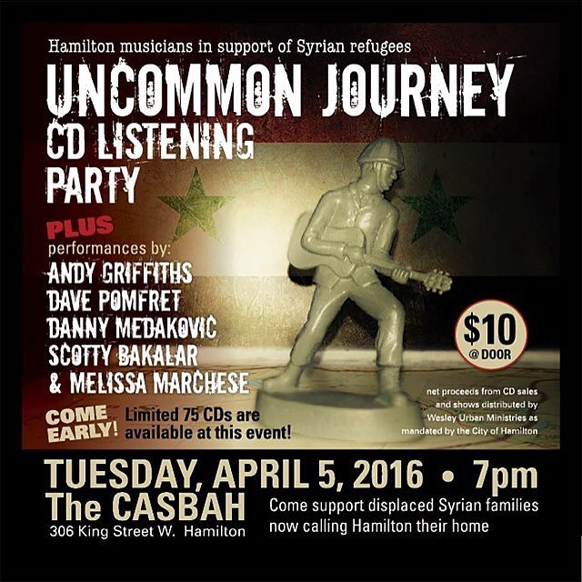 Happy to have played on a couple tracks on the this record Uncommon Journey. Hamilton musicians in support of Syrian refugees. listening party tonight at the casbah.