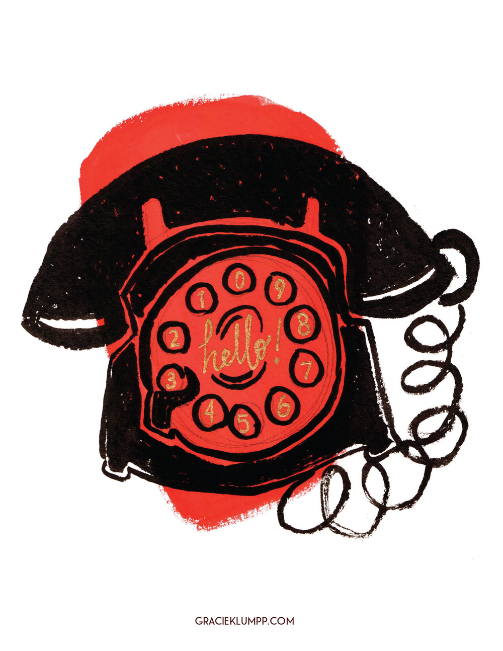 Retro Telephone Illustration