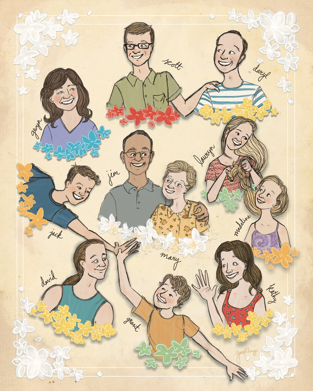 We got creative in order to fit all 11 members of the family into this 50th anniversary present for Jim and Mary! We even made the flower colors correspond with family units as an extra detail.