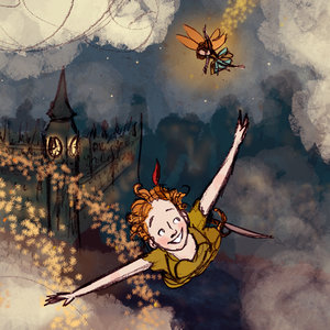 London Flight Peter Pan And Tinkerbell Flying Art Print
