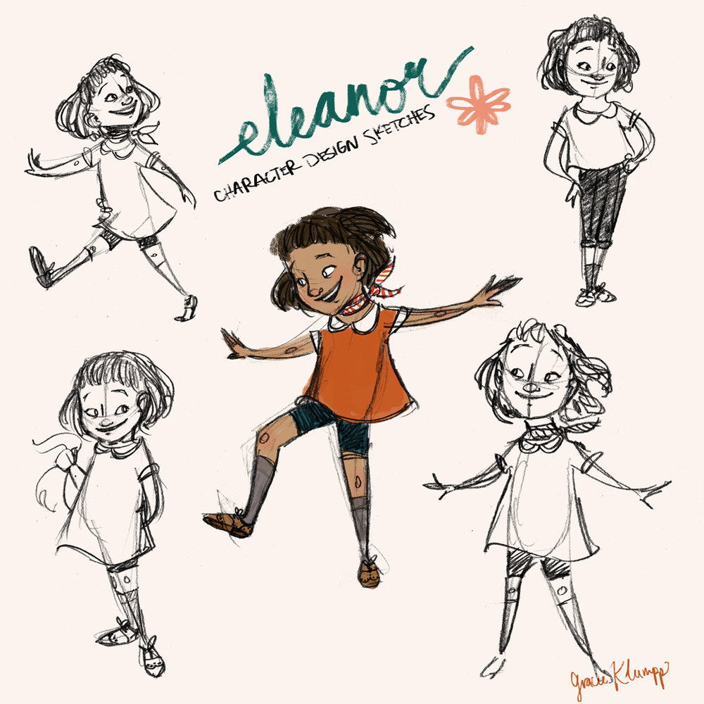 Character Exploration sketches for the main character, Eleanor.