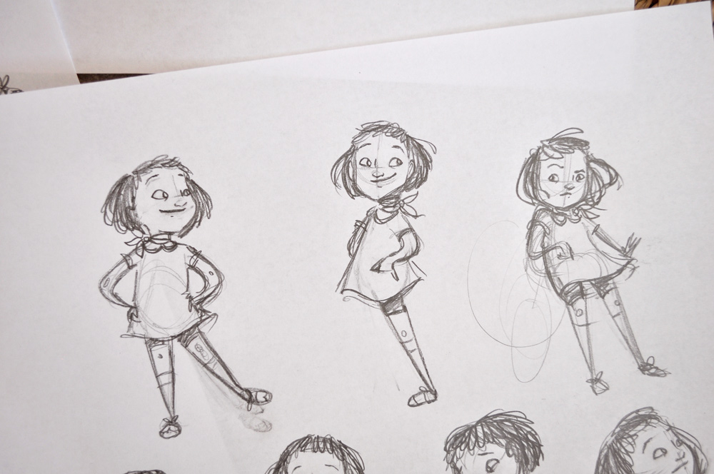 I think she's going to end up mostly like this middle version--a little younger than my original, with bigger eyes.