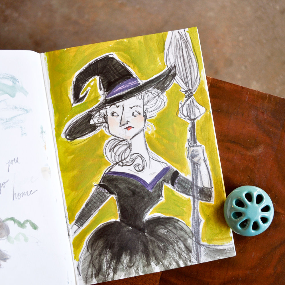 Sketchbook Prompt: anger. This witch turned out more annoyed than anger, I think, but I still like her!