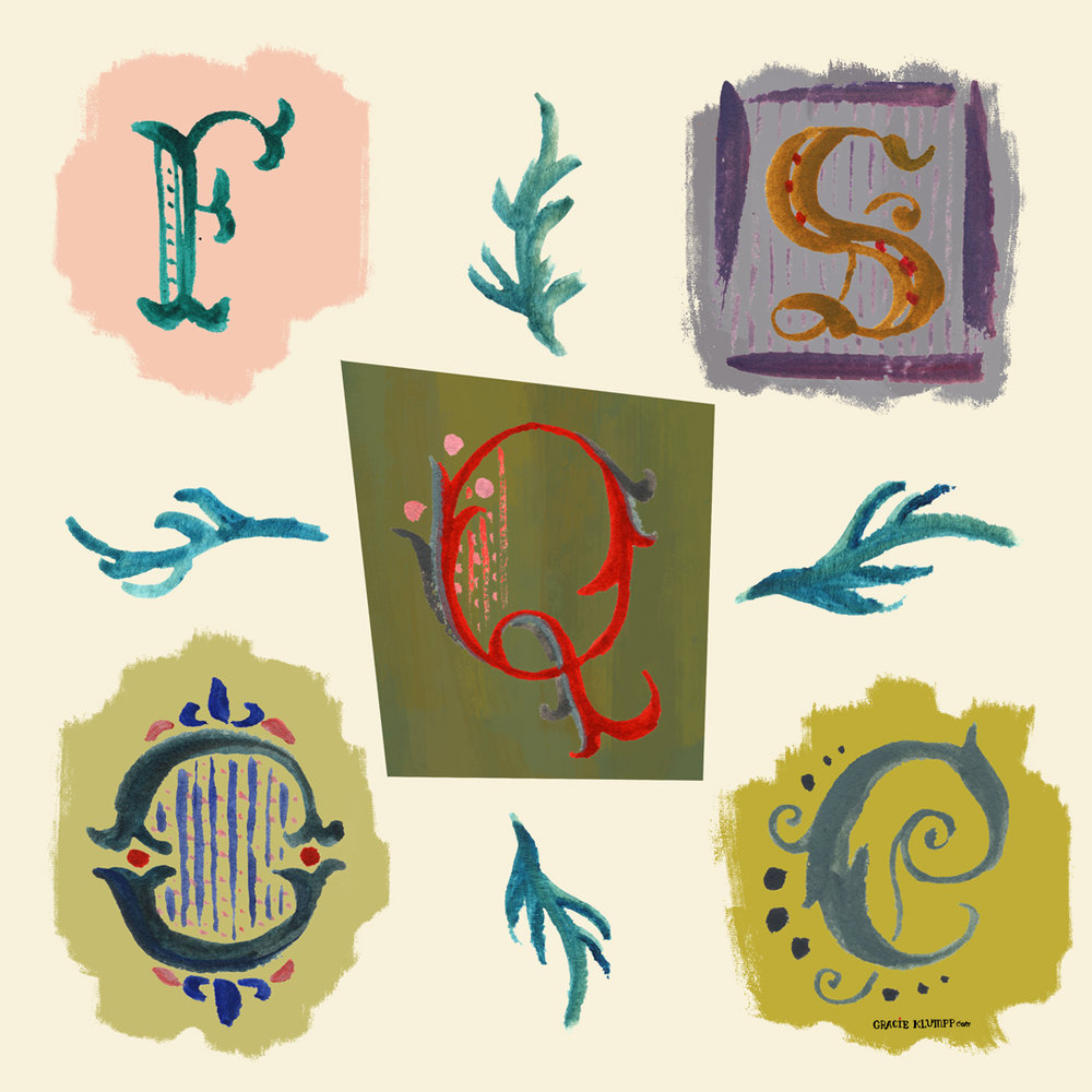 "The prompt for Monday was ""any three letters from an Old English Alphabet."" I basically just pretended I was an illustrator for those awesome classic Disney fairy tale opening sequences. Hashbrown dream job."