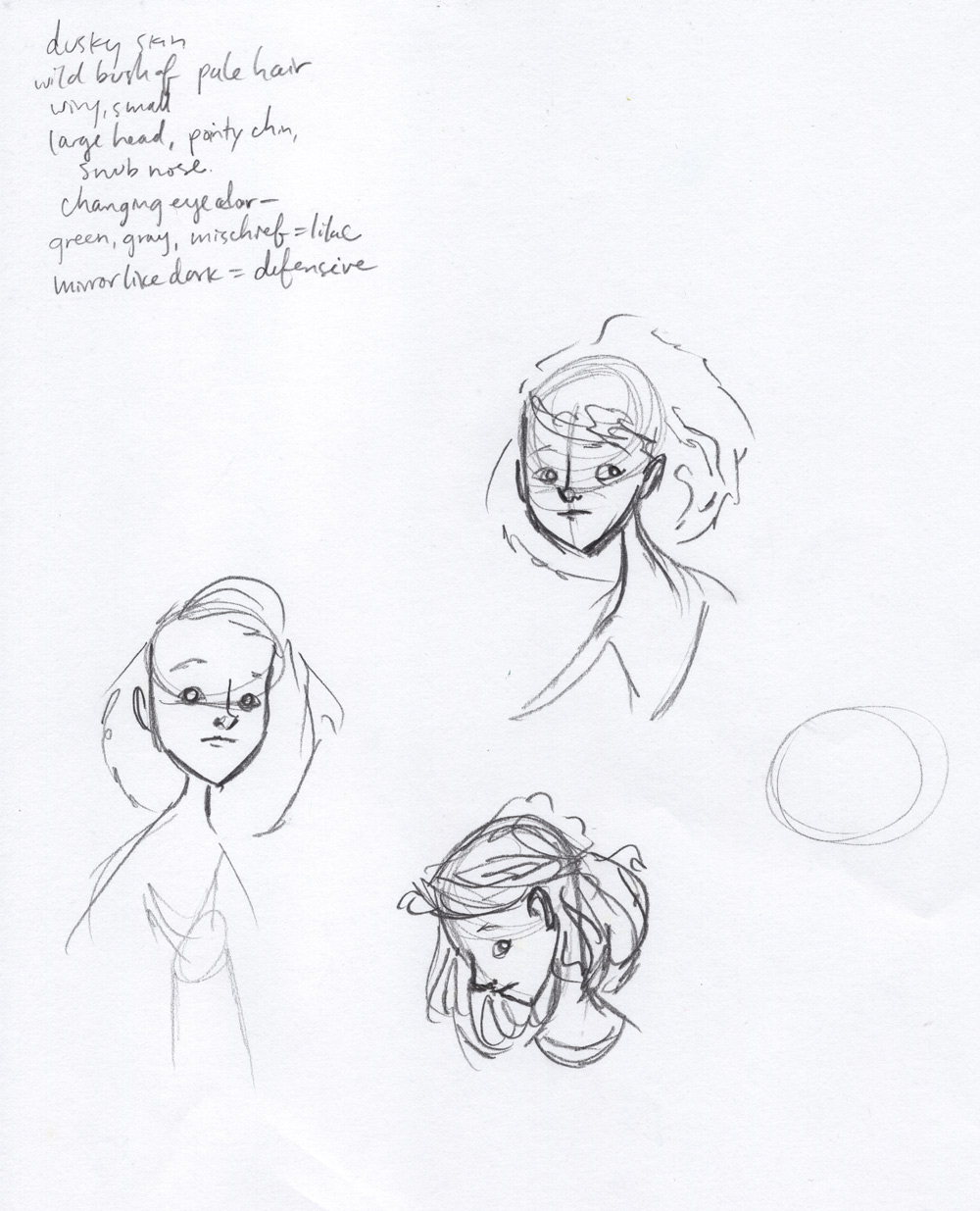 Some very rough sketches to start getting a feel for Saaski. I took some notes at the top from the book, especially about her eyes. I wanted her to be looking directly out at us and for there to be an emotional connection there. Having characters look straight at you isn't something I'm good at, so this was a good opportunity to practice that.